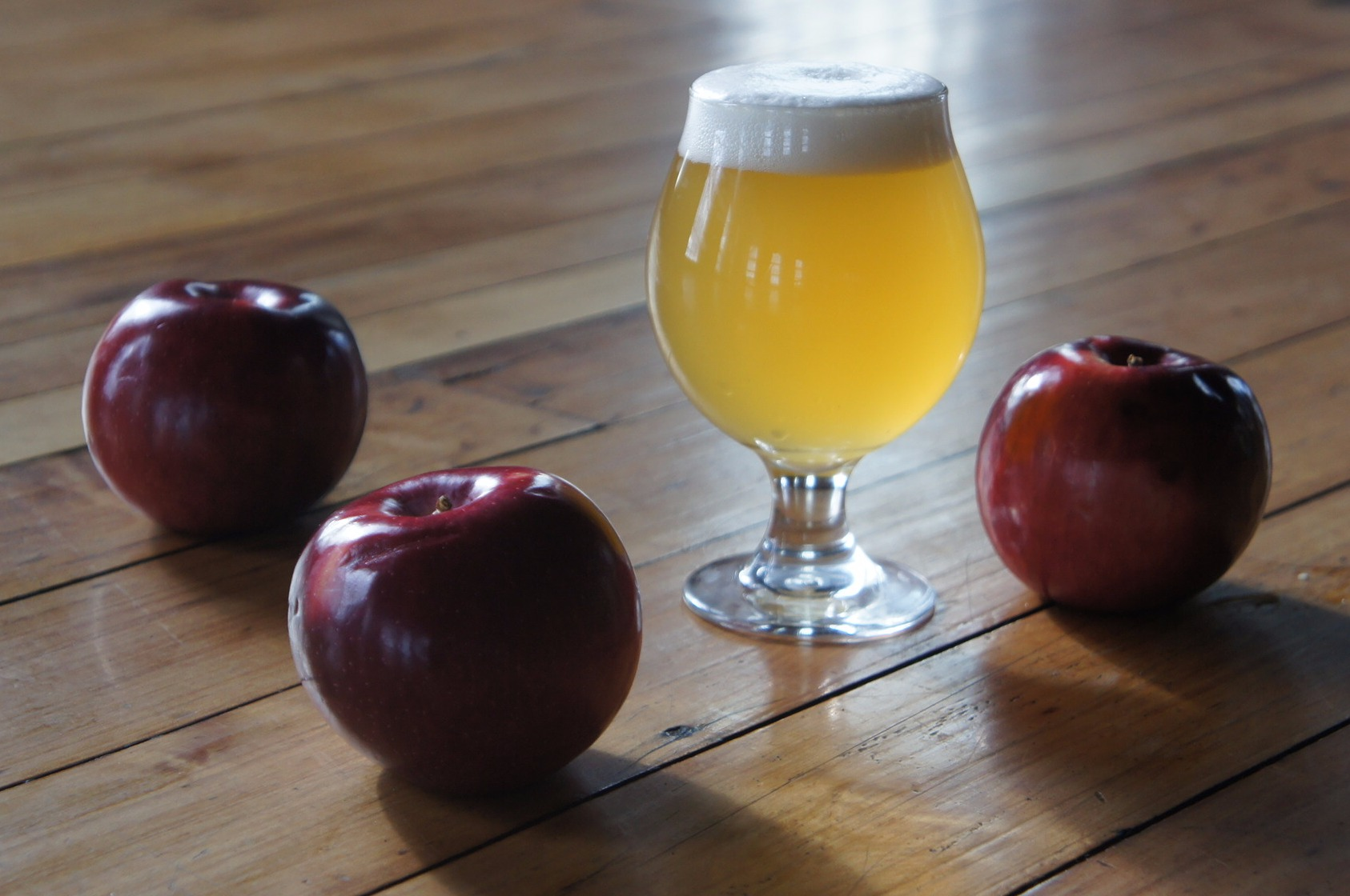 A Farmhouse Ale made with local apple cider and fermented with Brettanomyces